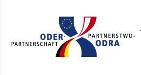 """Logo der """"Oder-Partnerschaft"""" auf der Fachkonferenz Gesundheitswirtschaft und Gesundheitswesen im Rahmen der Oder-Partnerschaft März 2018"""